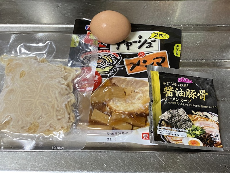 ソイドル豚骨醤油ラーメン材料